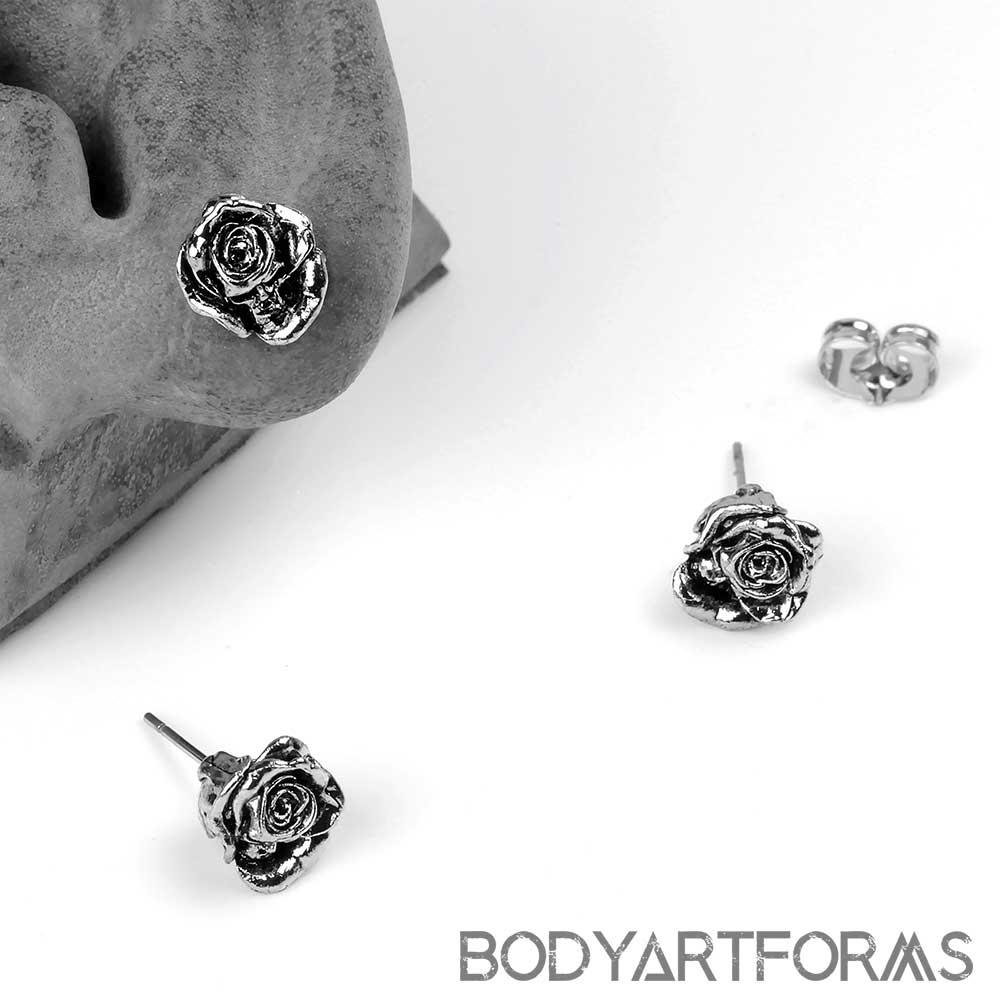 Memento Mori Rose Stud Earrings