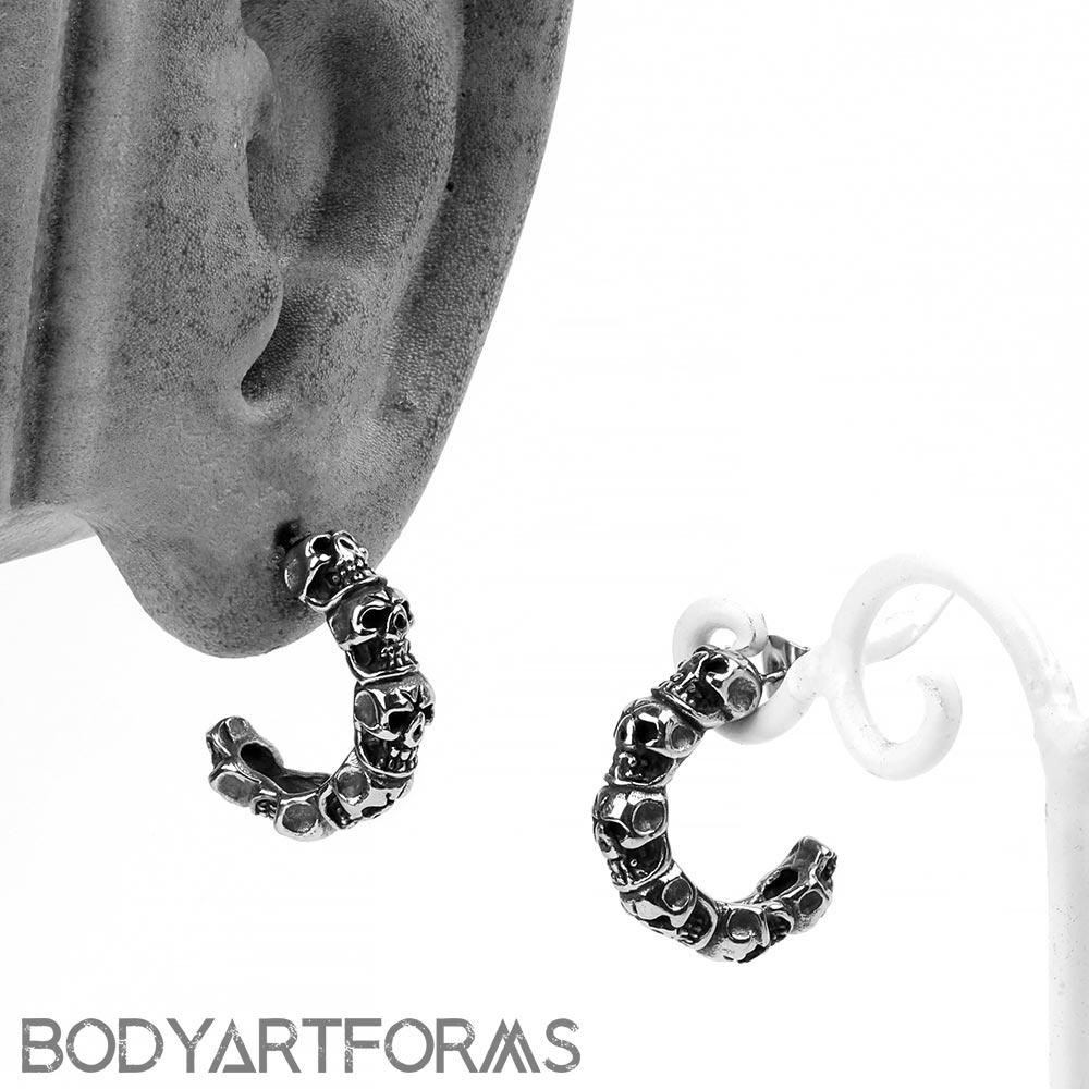 Steel Skull Half Hoop Earrings
