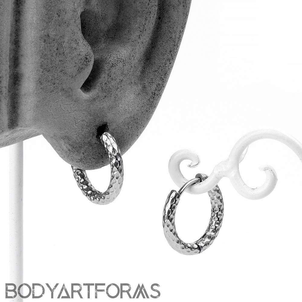 Steel Hammered Huggie Earrings