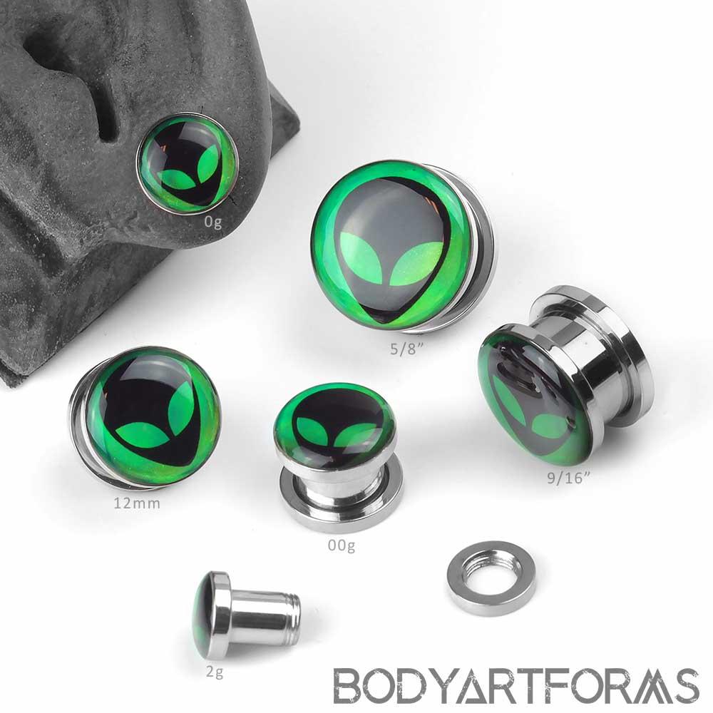 Hologram Alien Steel Plugs