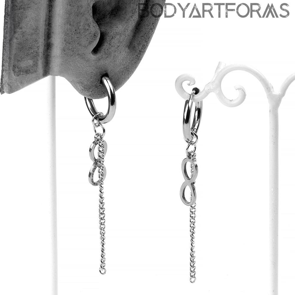 Steel Infinity Dangle Huggie Earrings