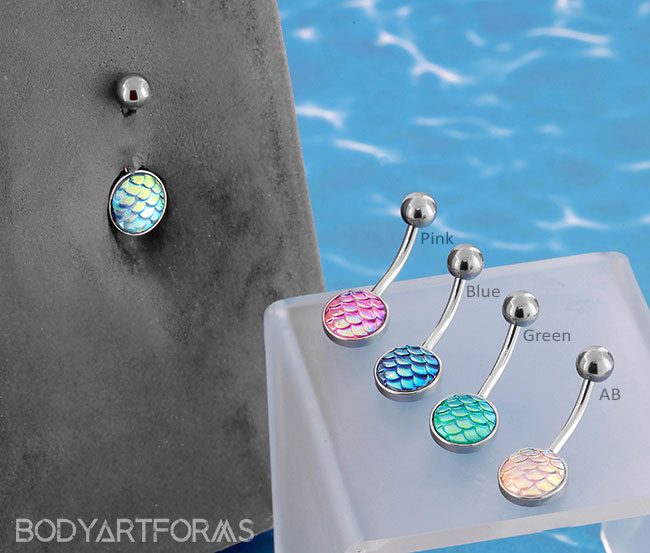 Cute Simple Iridescent Mermaid Scale Navel Belly Ring