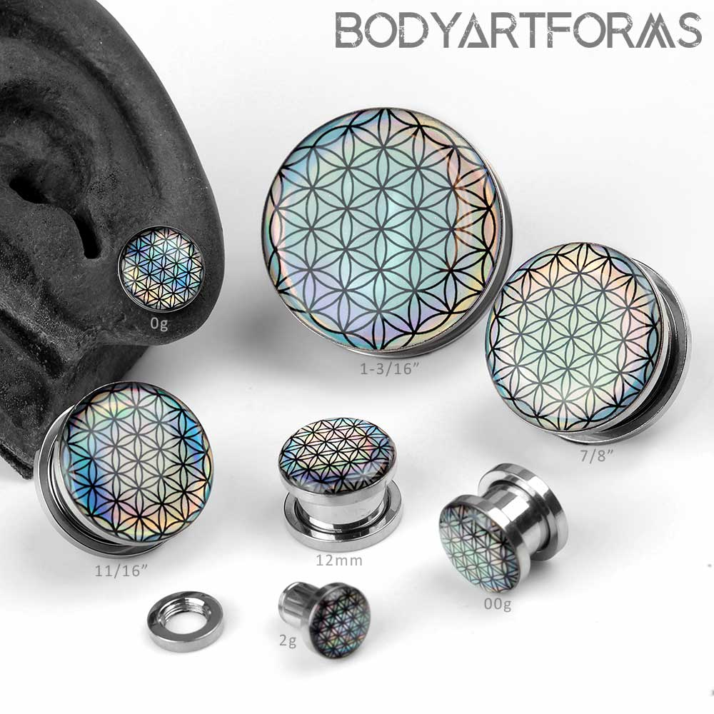 Iridescent Seed of Life Plugs