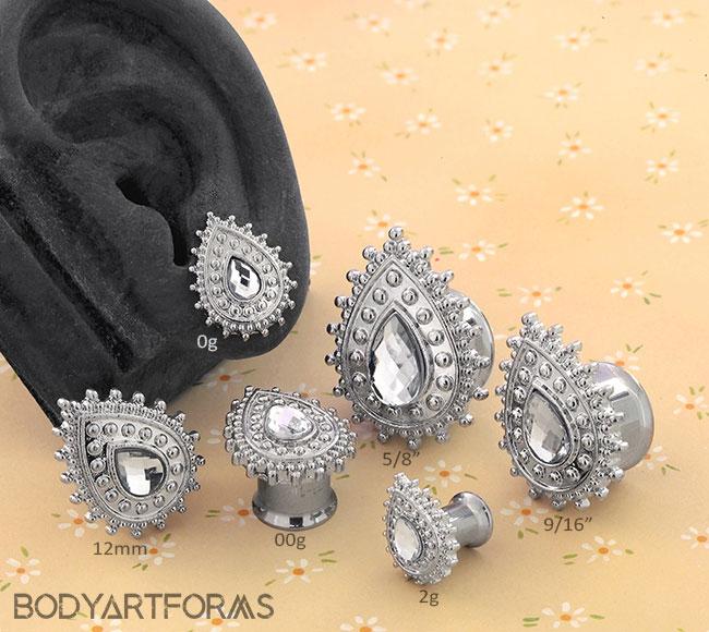 Jeweled Teardrop Plugs