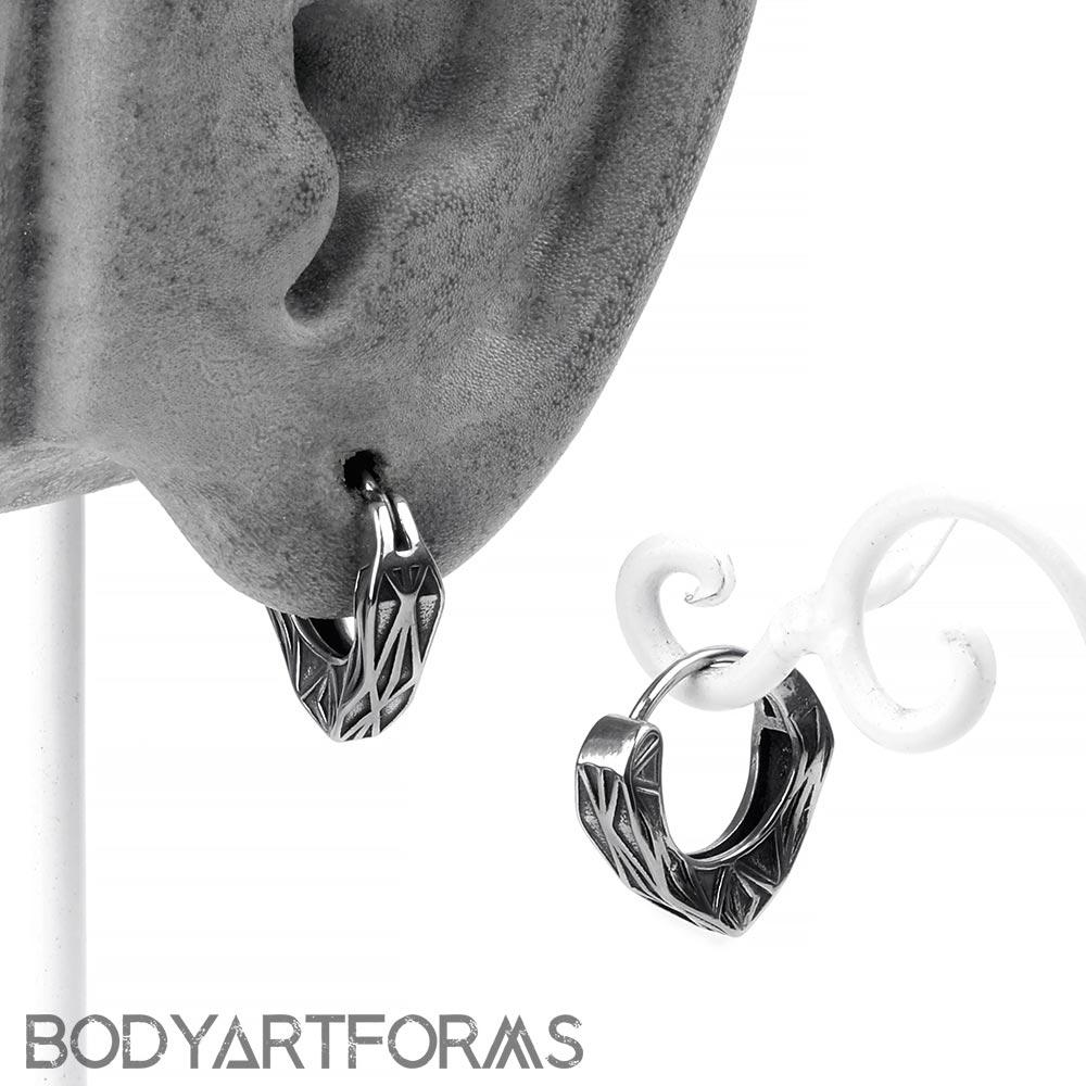 Steel Kaleidoscopic Huggie Earring