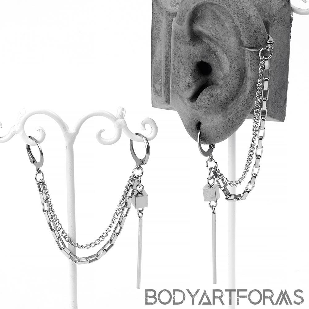 Steel Modern Double Chain Huggie Earring