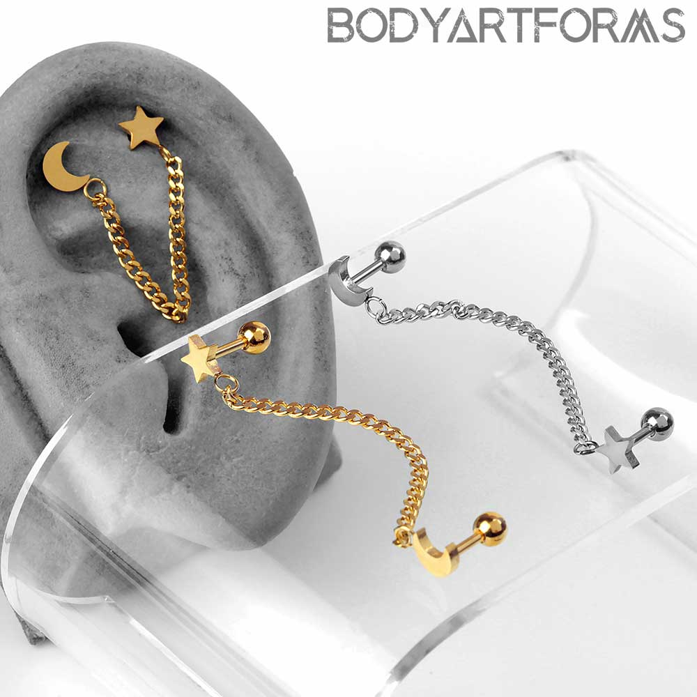 Moon and Star Chain Linked Barbell