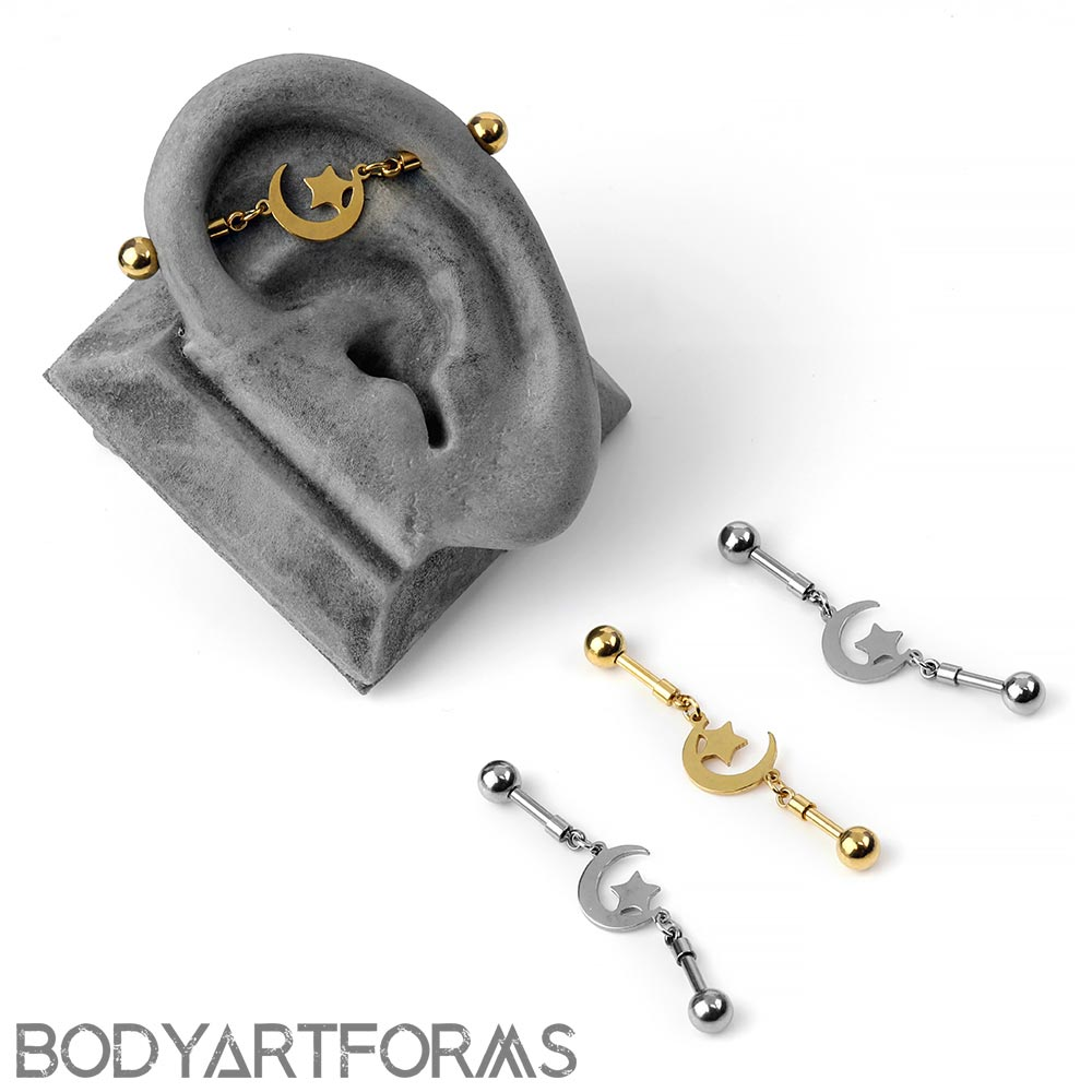 Steel Moon and Star Floating Industrial Barbell