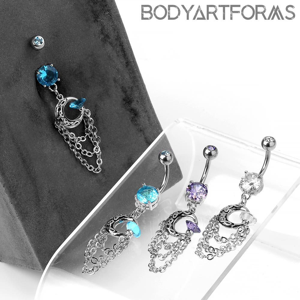 Steel Navel with Dangle Moon and Chains