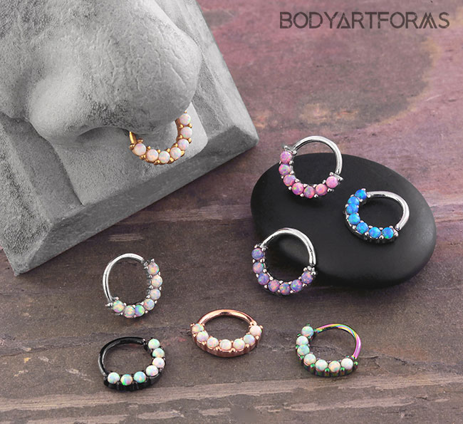 Opal Paved Seamless Ring