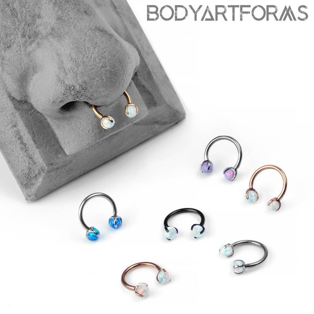 Steel and Prong Set Opal Circular Barbell
