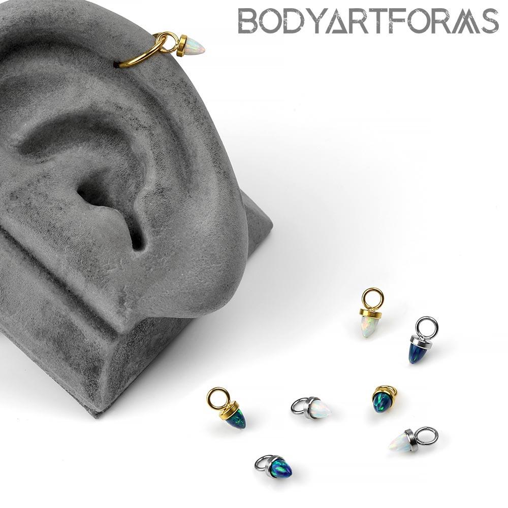 Steel Synthetic Opal Dangle Charm