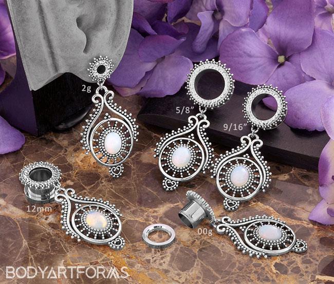 Ornate Opalite Beaded Drop Eyelets