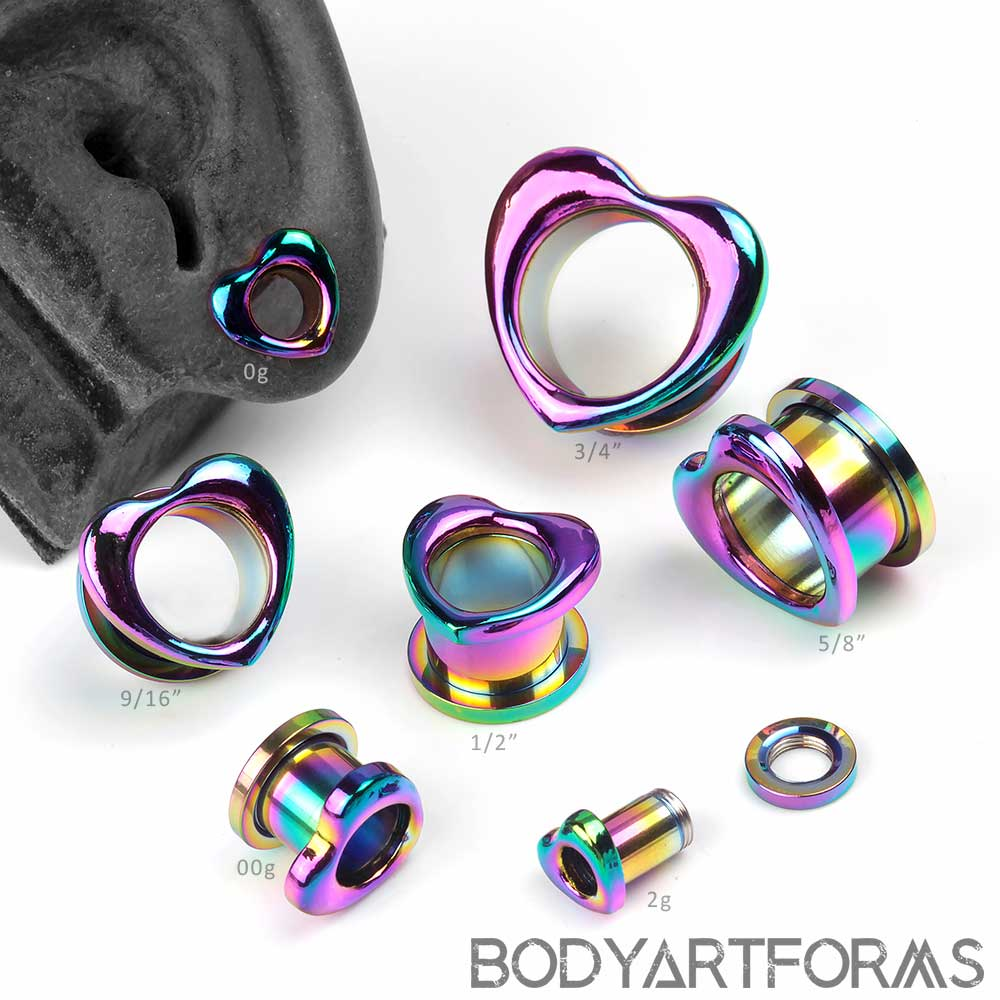 Steel Rainbow Heart Eyelets