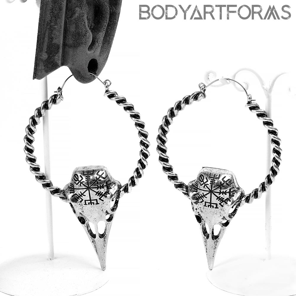 Steel Runic Crow Earrings