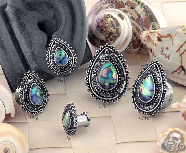 Abalone Shell Teardrop Plugs