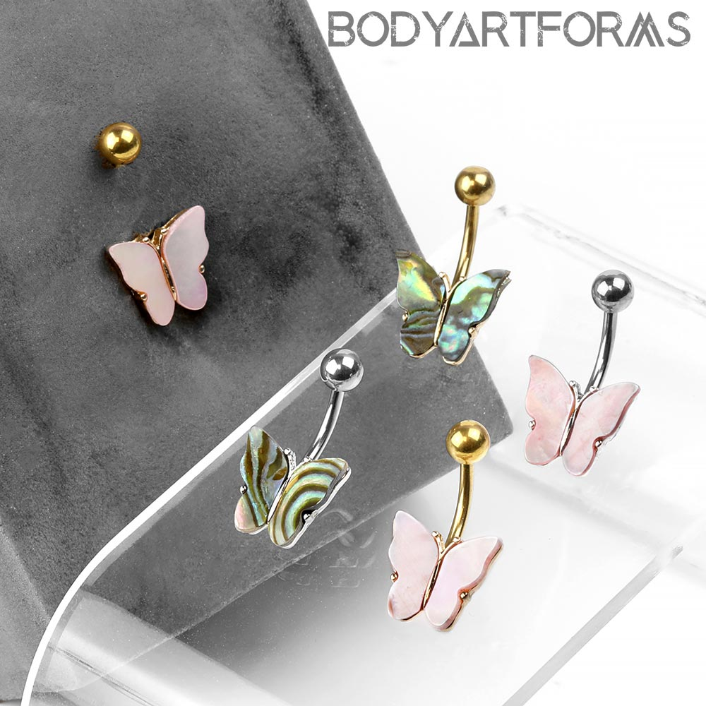 Steel and Shell Butterfly Navel