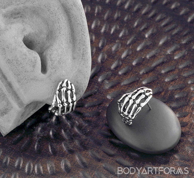 Skeleton Hand Stud Earrings