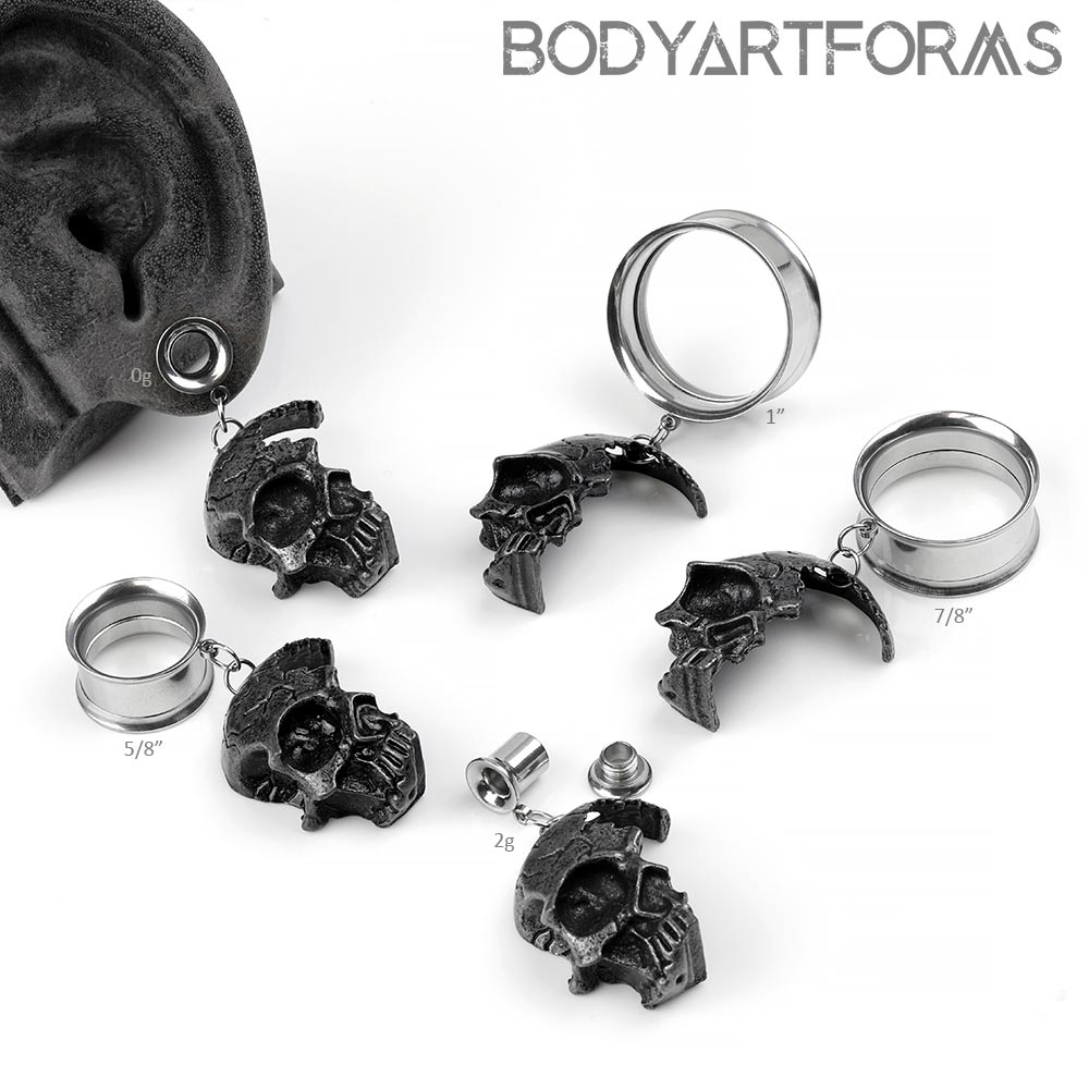 Steel Dangling Skull Eyelets