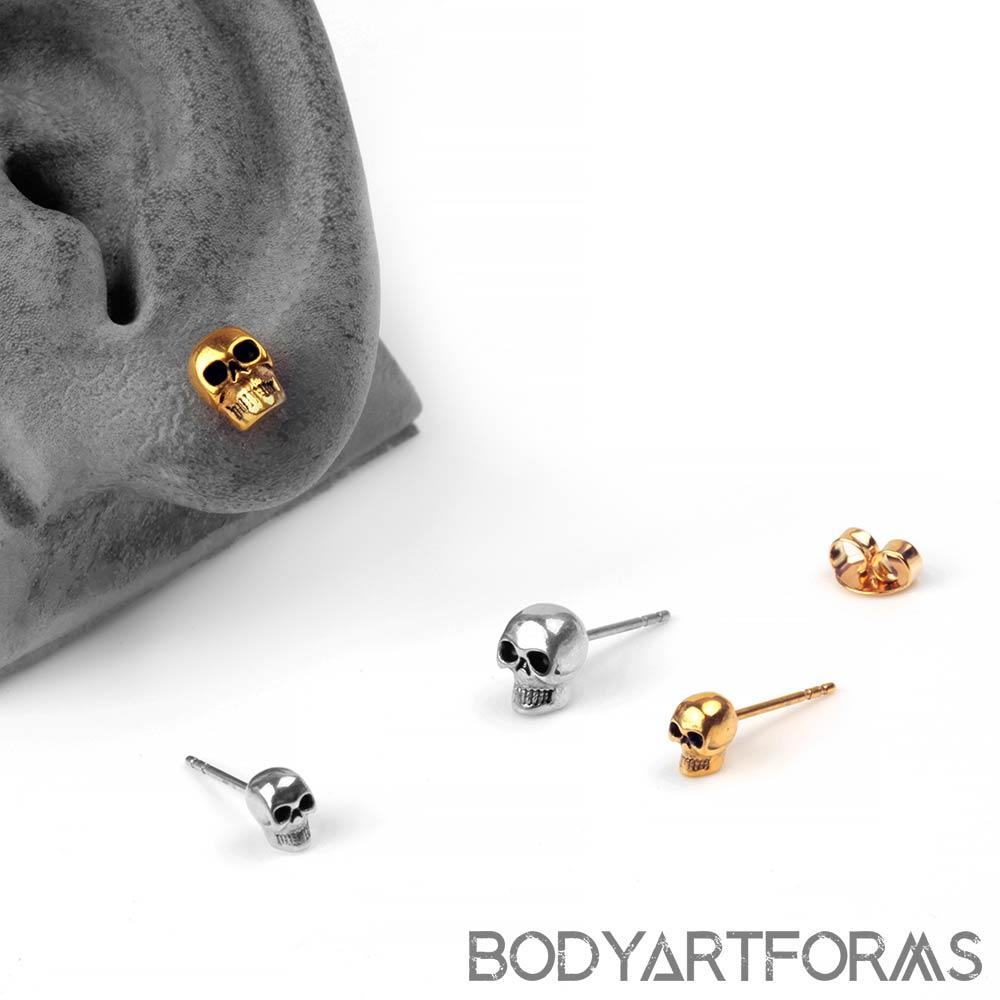 Steel Skull Stud Earrings