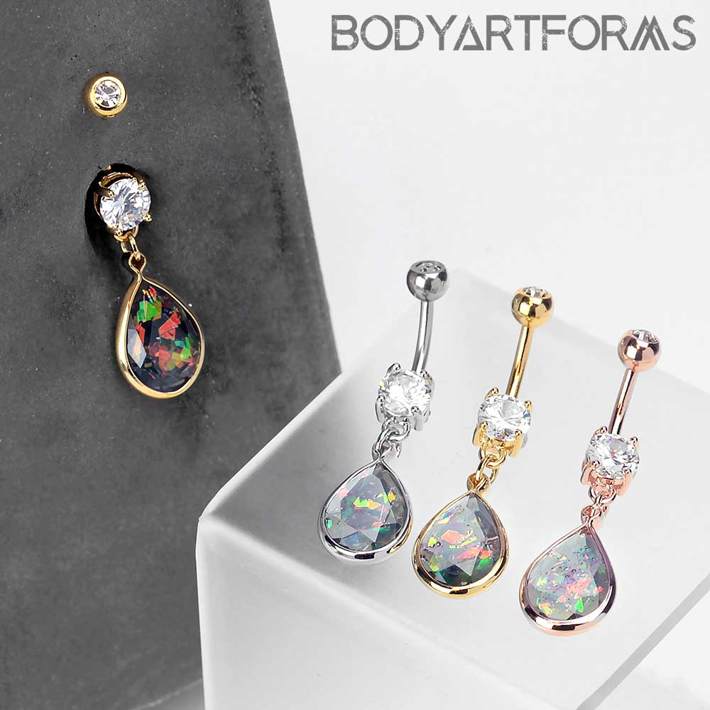 Sparkle Teardrop Dangle Navel