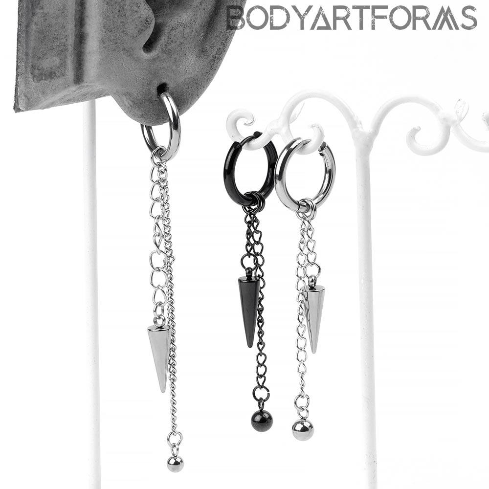 Steel Spike Dangle Huggie Earrings