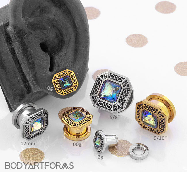 Square Framed Mystic CZ Plugs