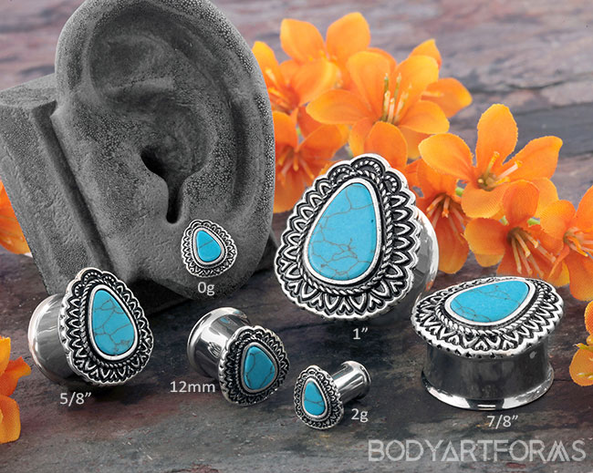 Framed Synthetic Turquoise Teardop Plugs