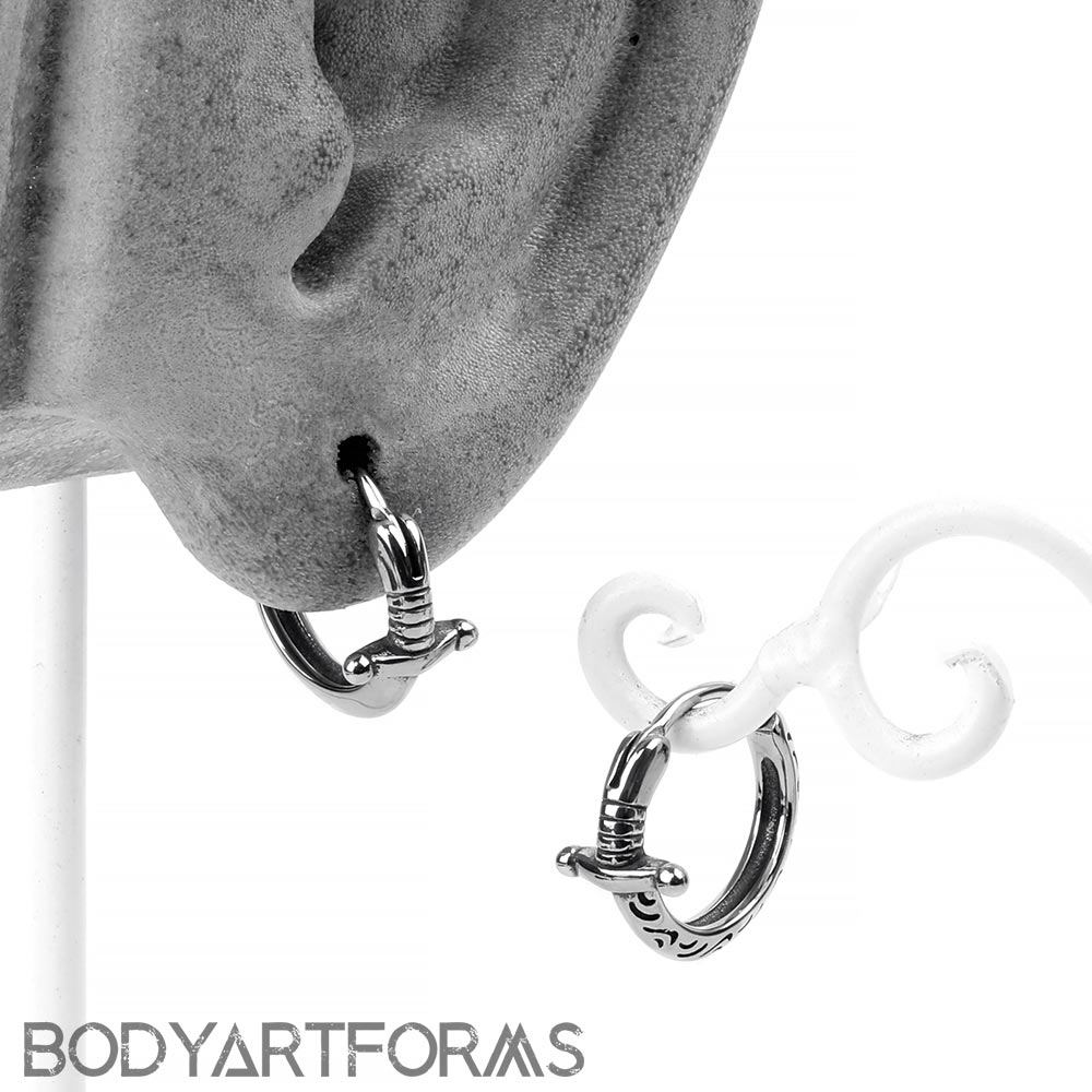 Steel Sword Huggie Earring