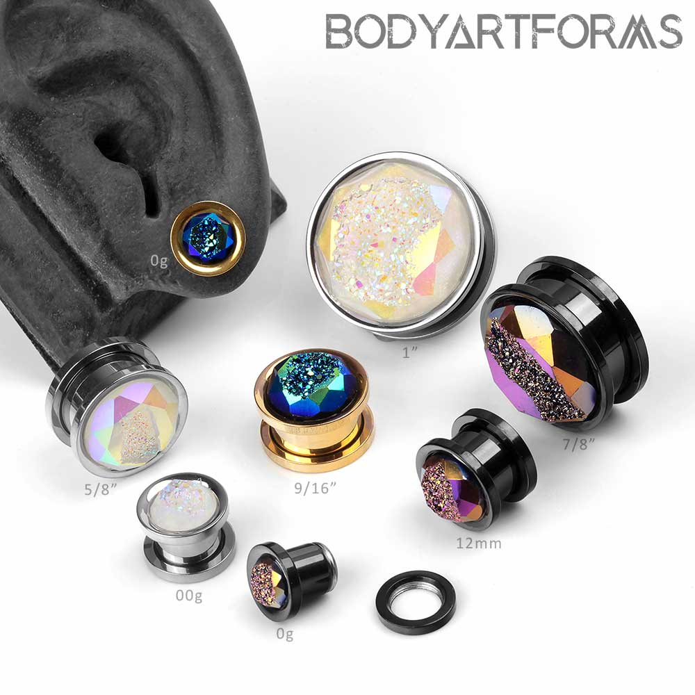 Synthetic Druzy Screw-Back Plugs