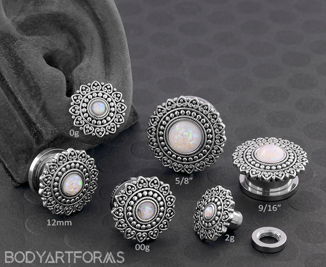 Synthetic Opal Adorned Plugs