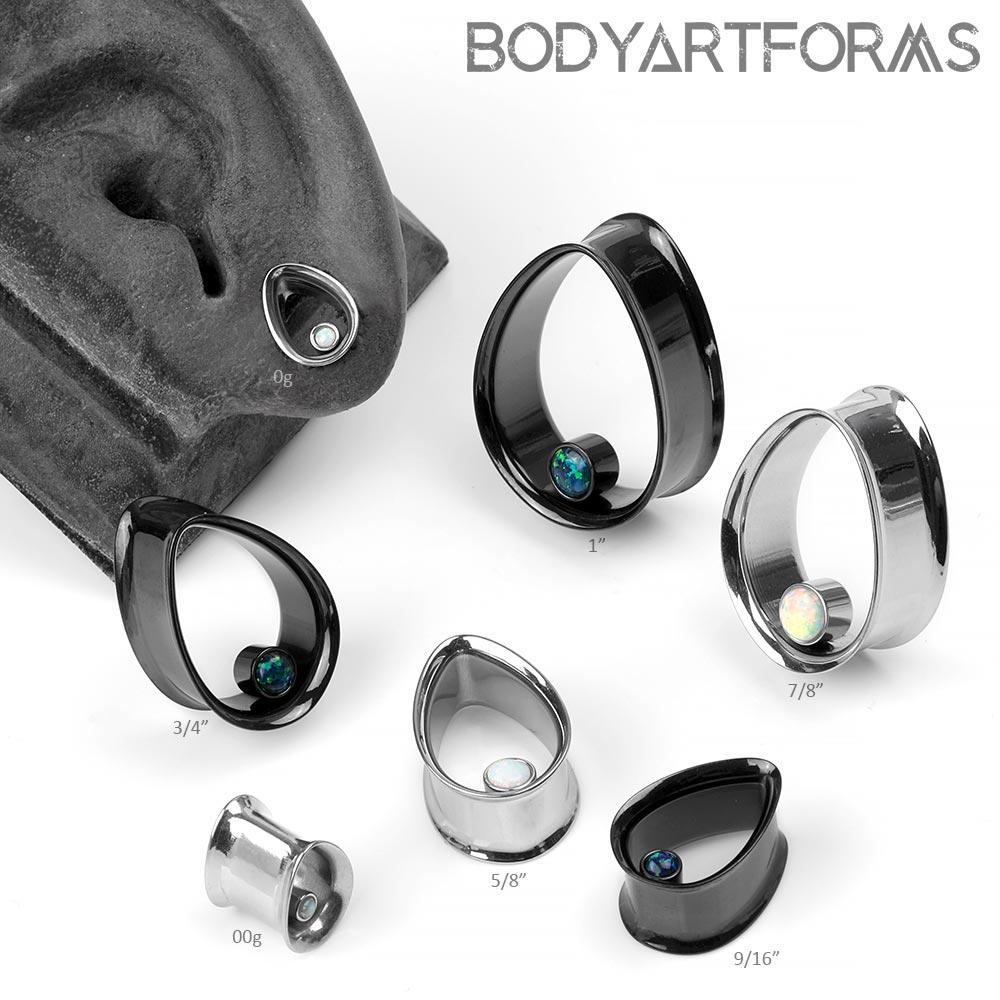 Steel Teardrop Eyelets with Synthetic Opal