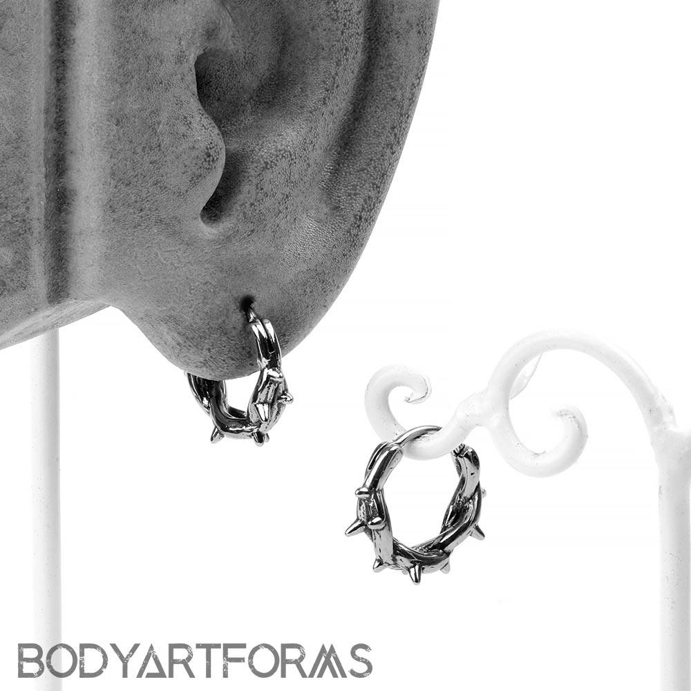 Steel Thorn Huggie Earring