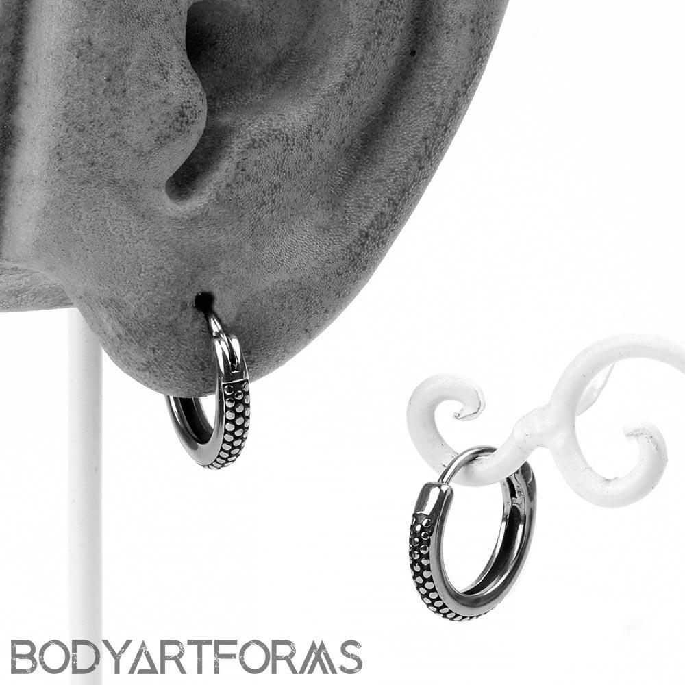 Steel Tread Huggie Earring