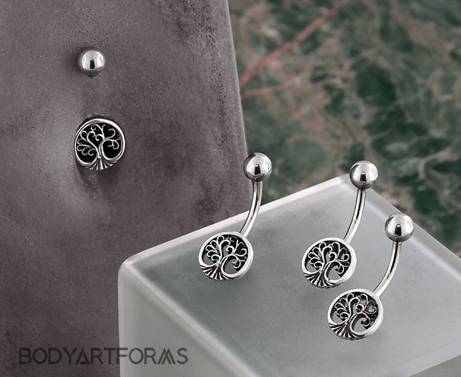 Piercing navel 2 Designs belly tree of life sterling silver 925