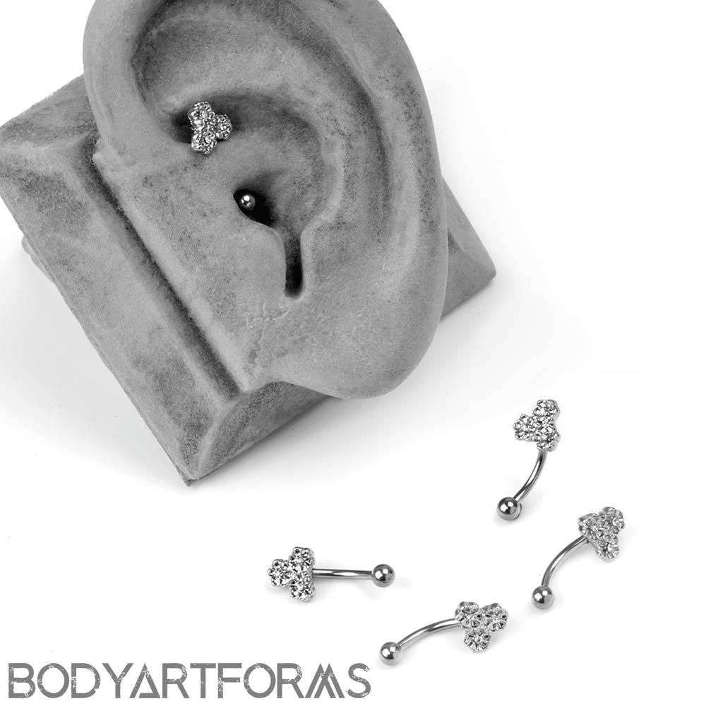 Steel Triple Flower Curved Barbell