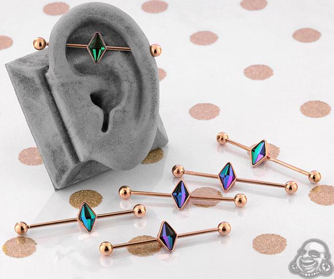 Vitrail Medium Diamond Industrial Barbell
