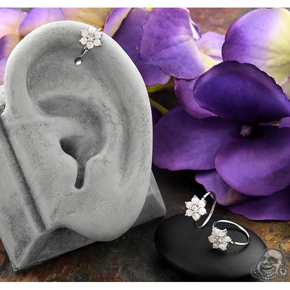 White Opal Flower Seamless Ring