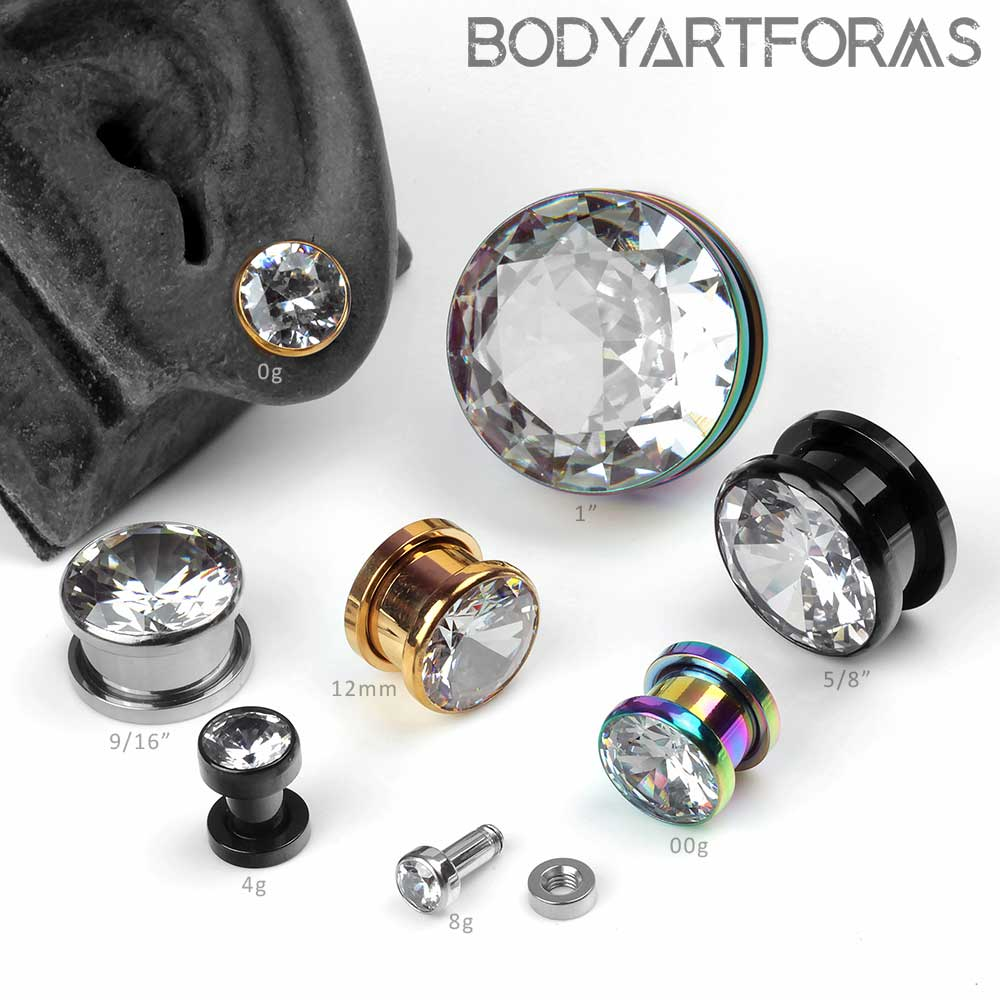 Bezel Set Zirconia Screw Fit Plugs