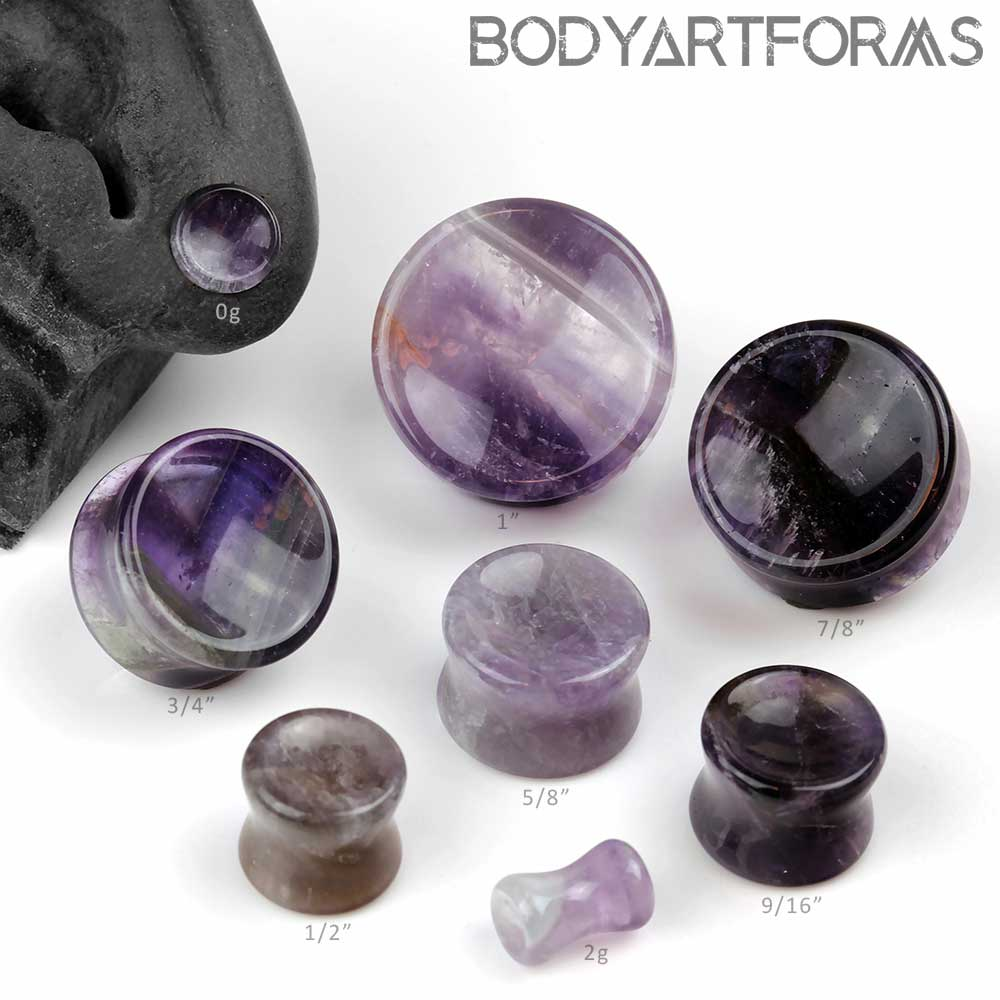 Double Flare Concave Amethyst Plugs