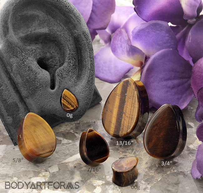Tiger Eye Teardrop Plug