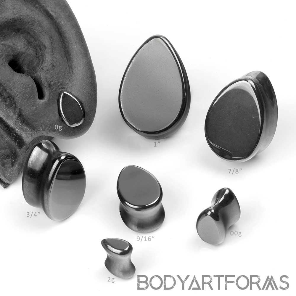 Hematite Teardrop Plugs