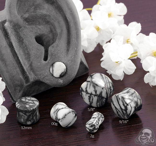 Price Per 1 Jasper Picasso Stone Double Flare Plug