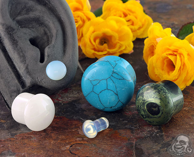 Single Flare Stone and Glass Plug