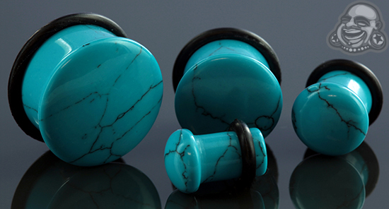 Single Flare Synthetic Turquoise Plug
