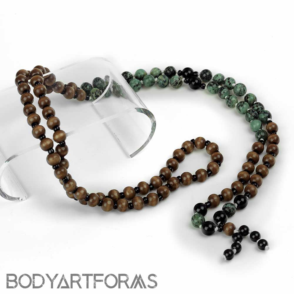 Evolution Mala Necklace Wood And Stone Bead