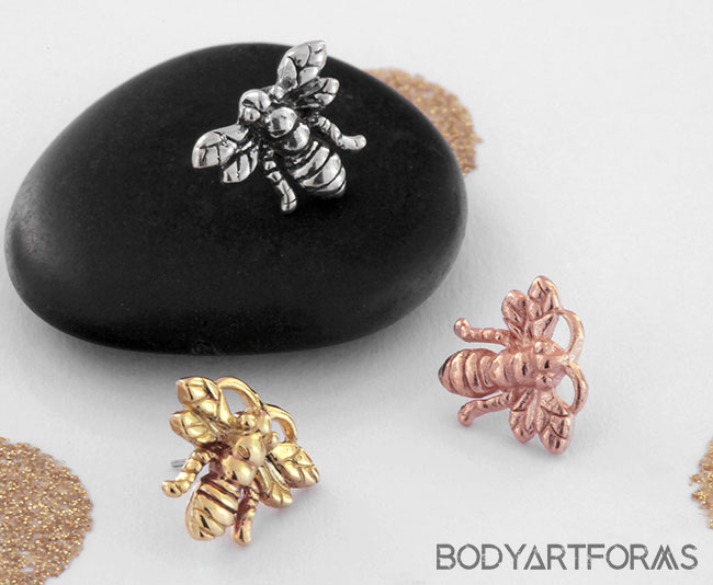 Solid 14k Gold Bee Threadless End
