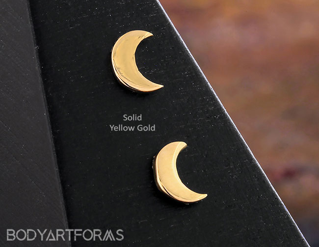 18g 2.5mm Steel Navel Body Jewelry 14K Rose Gold Threadless Crescent Moon End