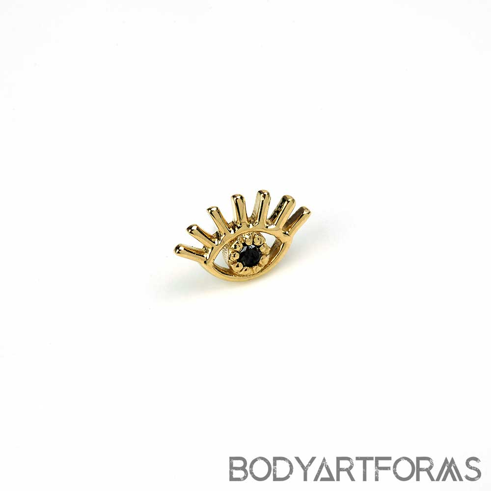14K Gold Evil Eye Threadless Ends