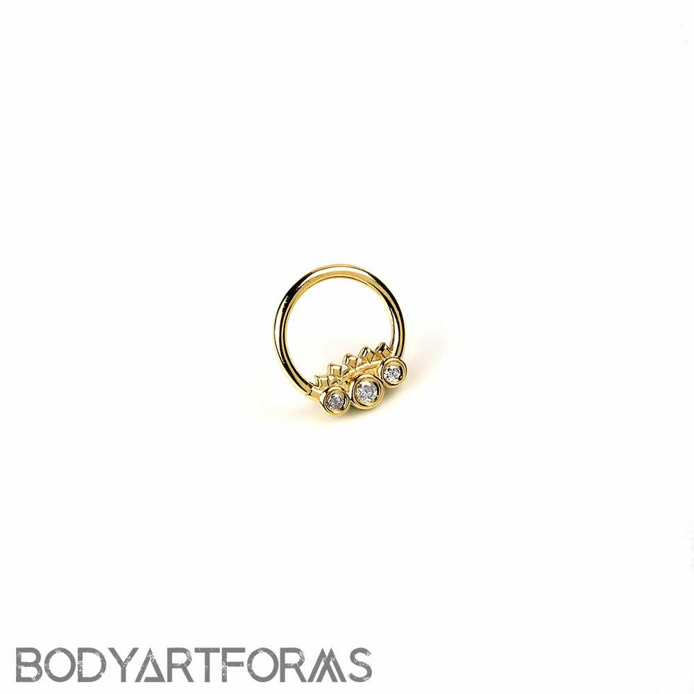 14K Solid Gold Tiara Seamless Ring with Genuine Diamonds